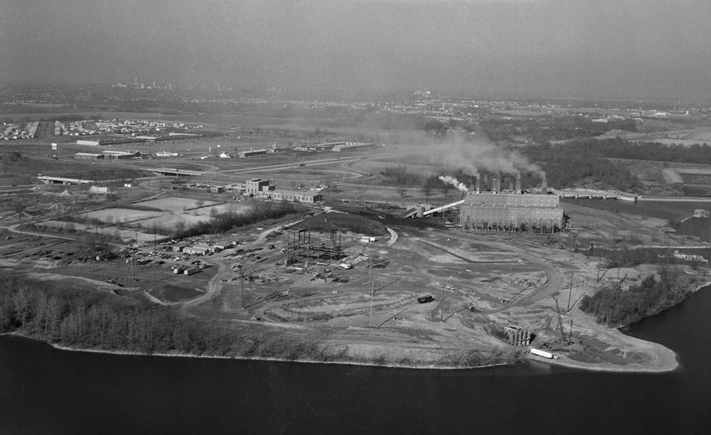 Aerial, CWLP Lakeside power plant, new plant under construction, intersection of Stevenson Drive and Interstate 55, Holiday Inn East on horizon. Dec. 22, 1966. File/The State Journal-Register