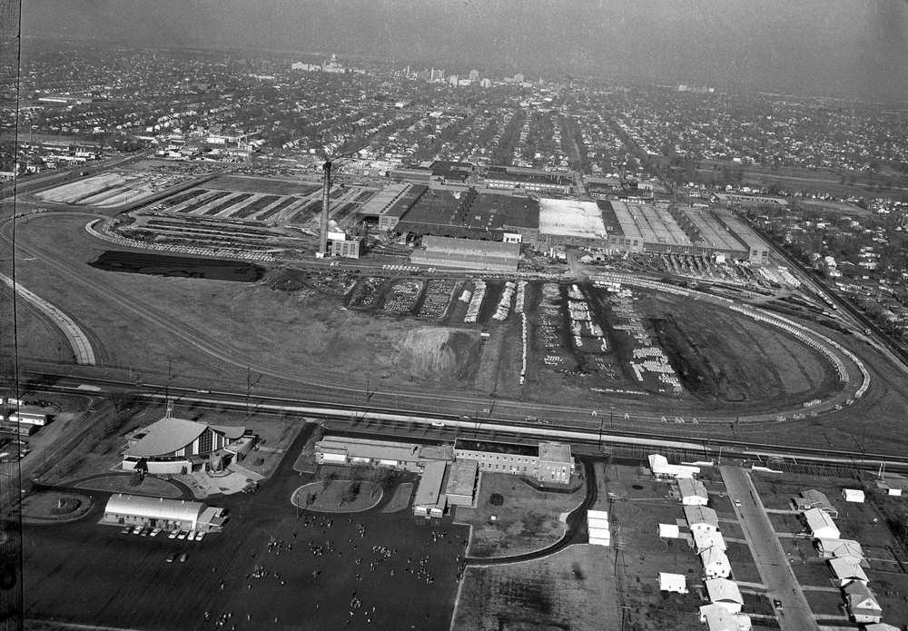 Aerial, intersection of Sixth Street and Stevenson Drive, Allis Chalmers campus with test track, Little Flower Church and school, old Route 66 road bed at left. Dec. 22, 1966. File/The State Journal-Register