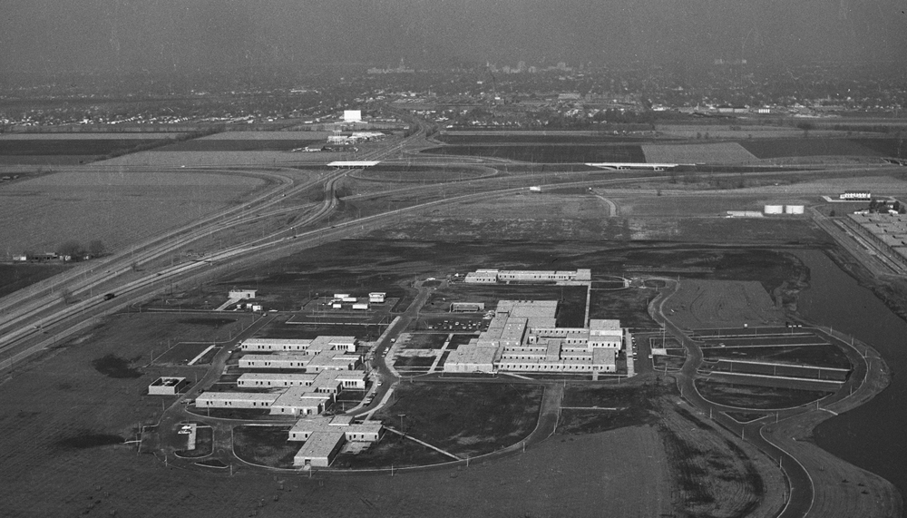 Aerial, intersection of Interstate 55 and 72, South Sixth Street Road, McFarland Mental Health hospital campus, newly opened. Dec. 22, 1966. File/The State Journal-Register