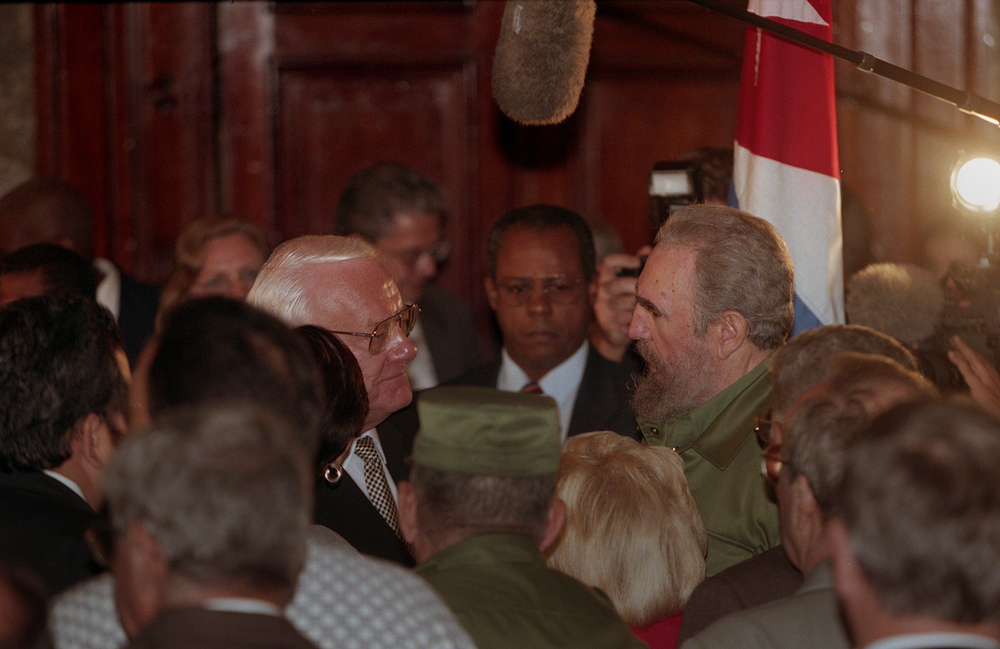 Gov. George Ryan and Cuban President Fidel Castro appeared together in public when Ryan addressed students at the University of Havana in an assembly hall where Pope John Paul II spoke when he visited the communist country in 1998. Ryan had met privately with Castro the day before. File/The State Journal-Register/T.J. Salsman