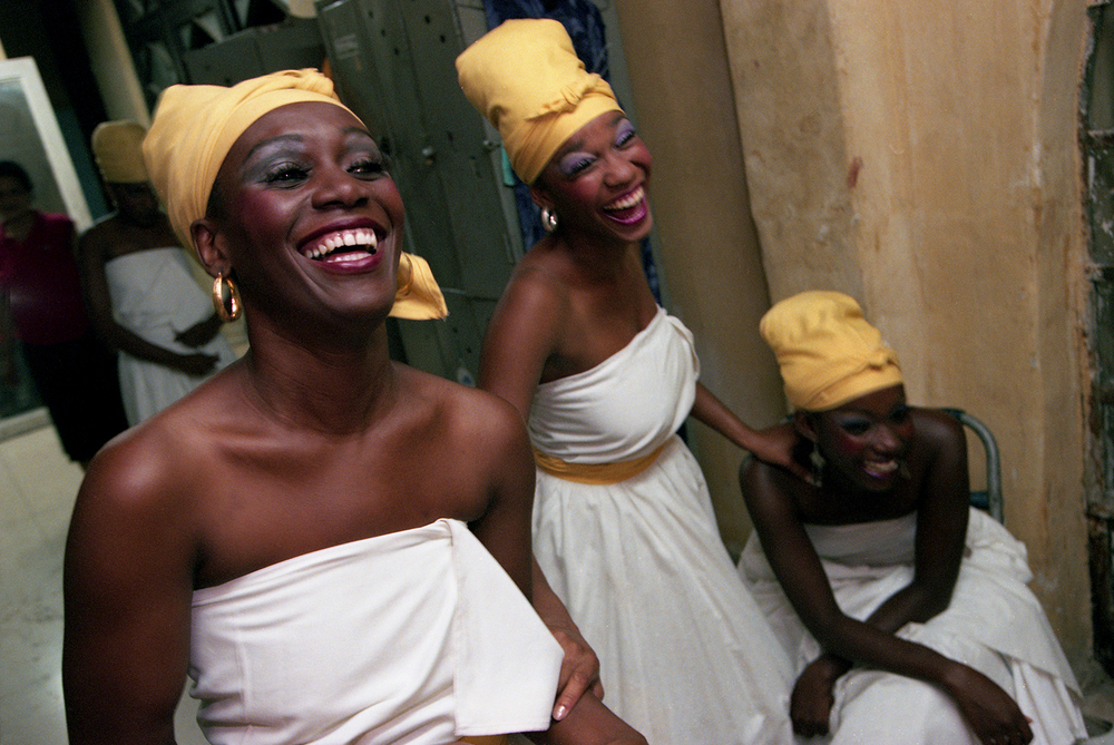Members of a dance troupe backstage prior to performing for Gov. George Ryan and the Illinois delegation in Old Havana, Cuba, October 1999. File/The State Journal-Register/T.J. Salsman