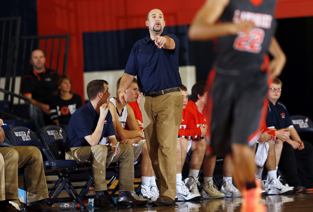 Rochester head coach  Mike Steers works the sidelines against Lanphier at Rochester High School Saturday, Dec. 20, 2014. Ted Schurter/The State Journal-Register