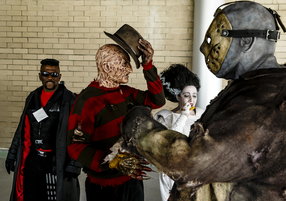 Horror movie favorites such as Freddy Krueger, center, and Jason Voorhees, right, were just some of the characters participants dressed as for the costume contest during the ScareFest Road Trip at the Prairie Capital Convention Center, Saturday, April 12, 2014. Justin L. Fowler/The State Journal-Register