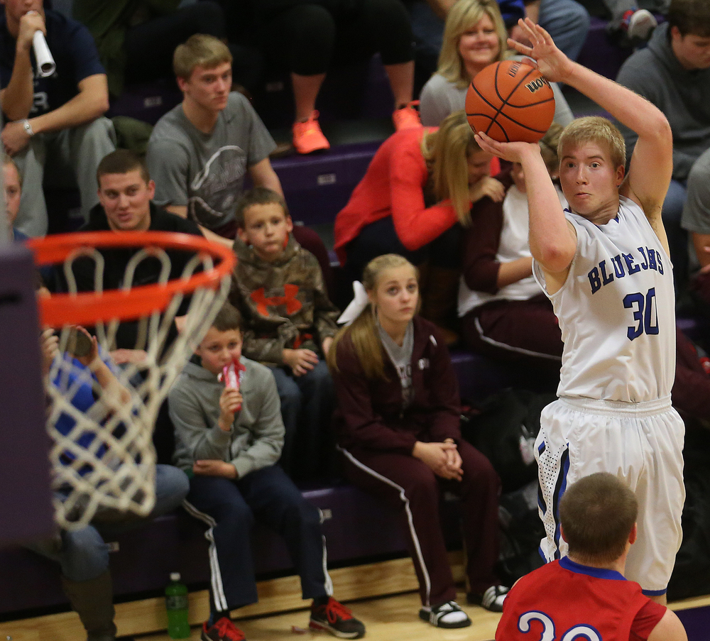Blujays player Michael McCurdy puts up two points in the second half.  Petersburg PORTA defeated Pleasant Plains 58-50 on the second day of action at the Williamsville Holiday basketball tournament at Williamsville High School on Saturday, Dec. 27, 2014. David Spencer/The State Journal-Register