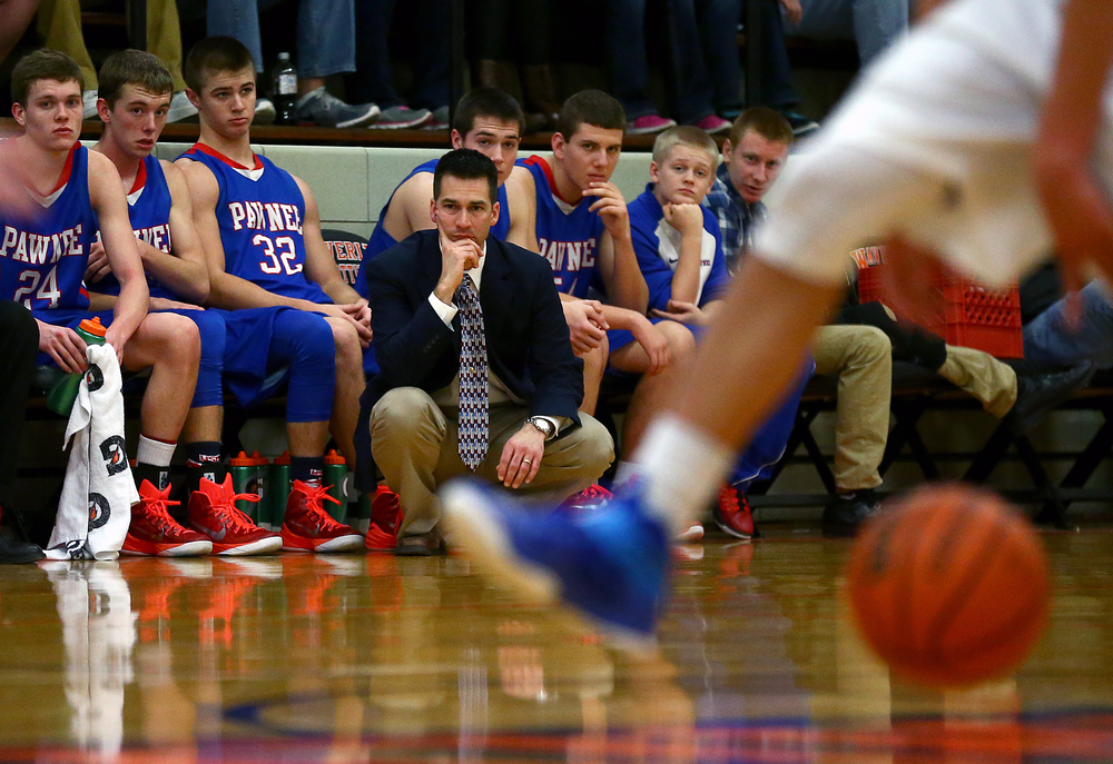 Pawnee head coach Raphael Hennemann watches as his team takes on Lutheran in the second half during the semifinals of the 64th annual Waverly Holiday Tournament at Waverly Grade School, Monday, Dec. 29, 2014, in Waverly , Ill. Justin L. Fowler/The State Journal-Register