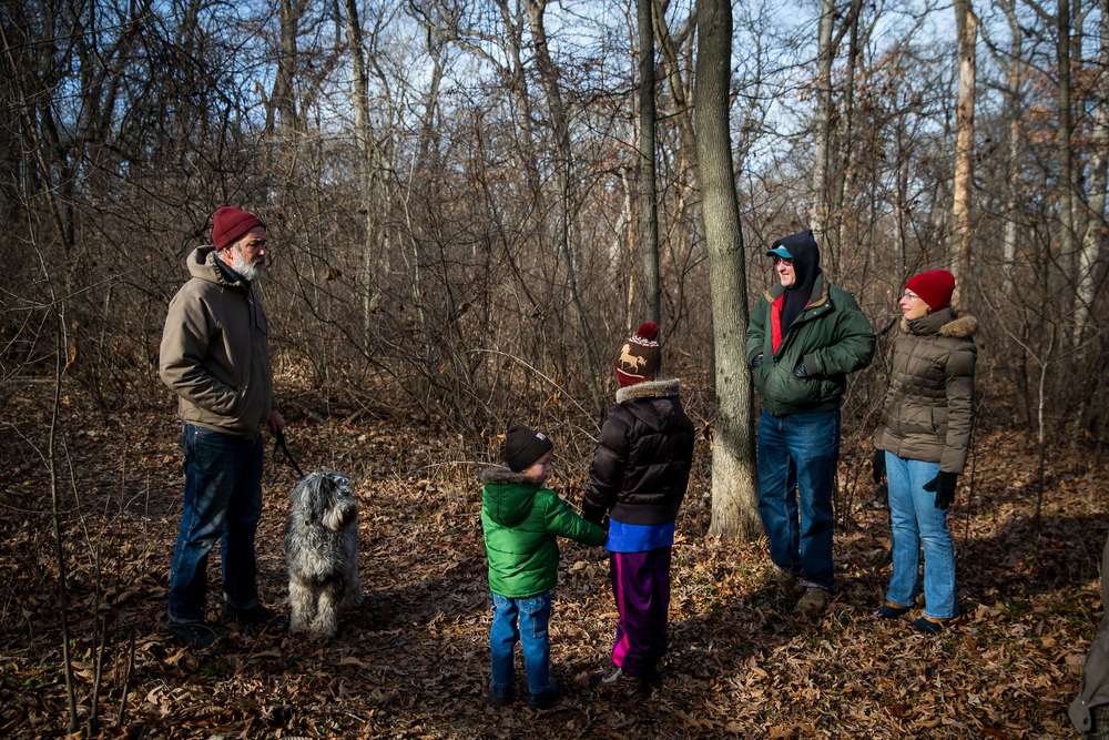 Bill Crook, along with his dog Bruno, begins the hike by describing what makes up the nature preserve area during the Sangamon Valley Group of the Sierra Club's Stone Soup Hike at Carpenter Park, Thursday, Jan. 1, 2015, in Springfield, Ill. Justin L. Fowler/The State Journal-Register