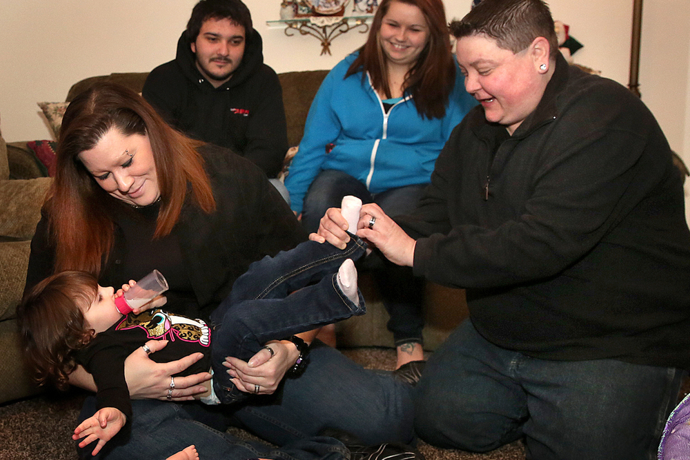 Angie Miller has some fun with niece Savannah Spencer 2, of Chicago while 
