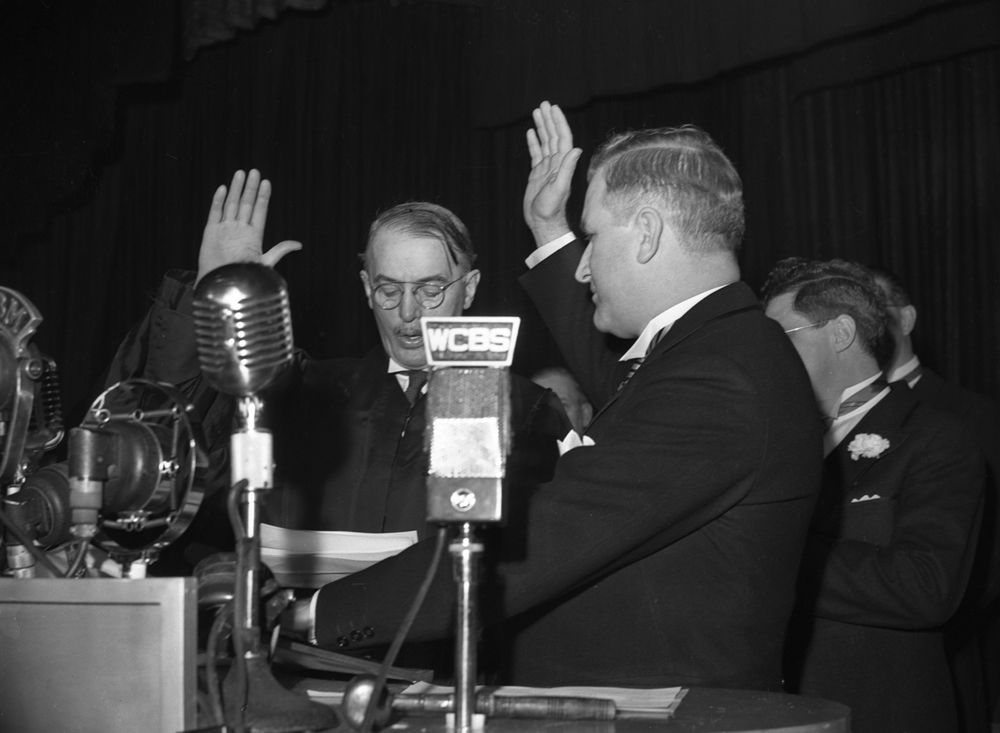 Gov. Dwight Green takes the oath of office for his first term in office Jan. 13, 1941, at the Illinois State Armory. File/The State Journal-Register