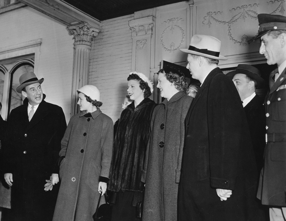 Gov. William Stratton inauguration, Jan. 12, 1953. At Executive Mansion leaving for Illinois State Armory are, from left, out-going Gov. Adlai Stevenson; Diana, Shirley (wife), Sandra and William Stratton. File/The State Journal-Register