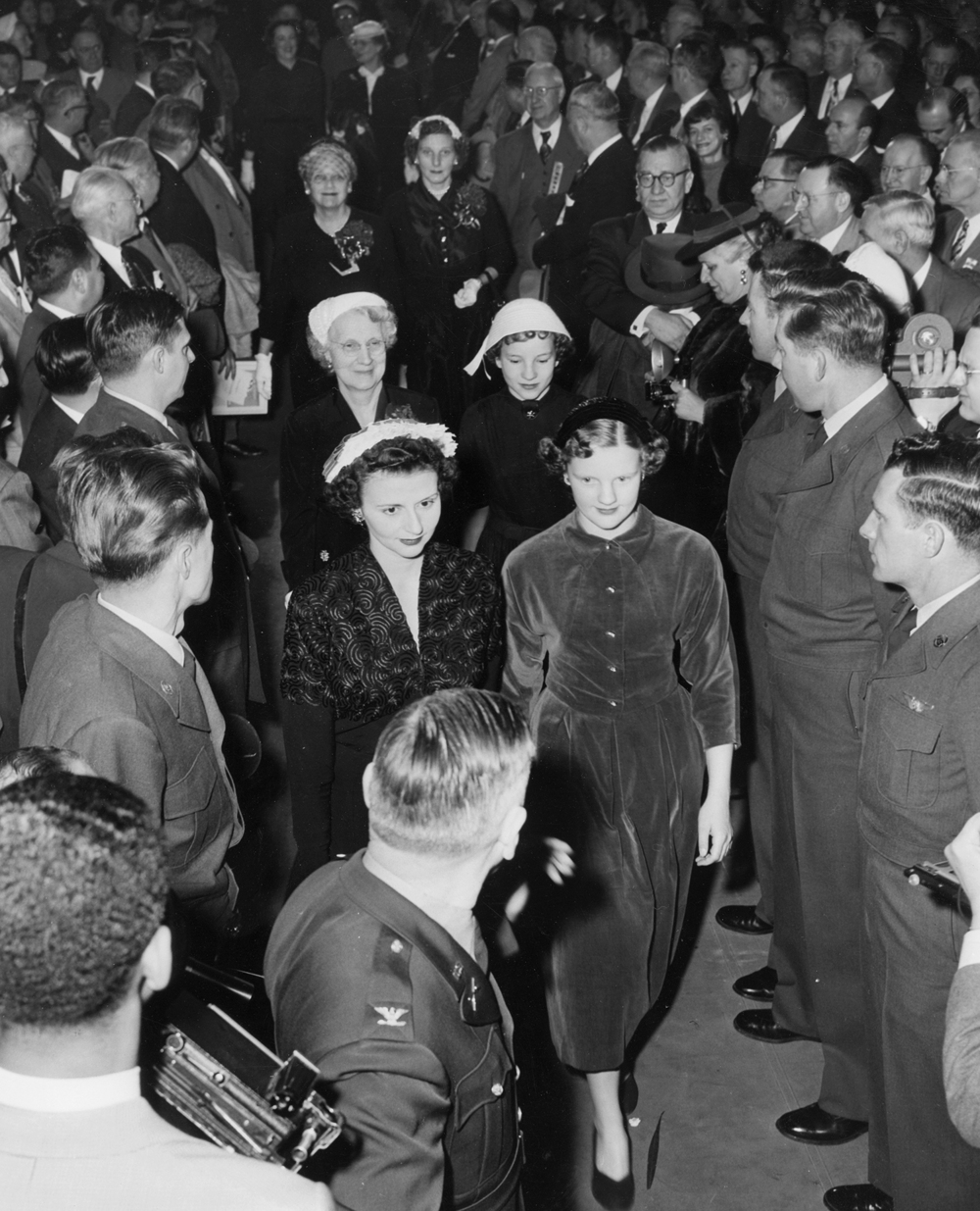 Gov. William Stratton inauguration Jan. 12, 1953 at the Illinois State Armory. Stratton's wife, Shirely with their daughter Sandra enter the Illinois State Armory. File/The State Journal-Register