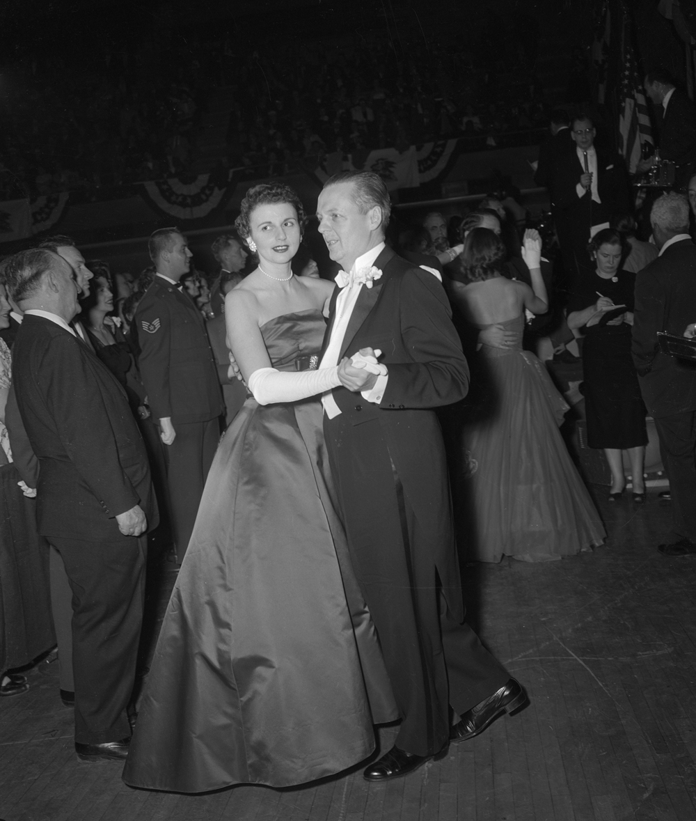 Gov. William Stratton and wife Shirley at inaugural ball, Jan. 14, 1957 at the Illinois State Armory. It was the beginning of Stratton's second term as governor. File/The State Journal-Register
