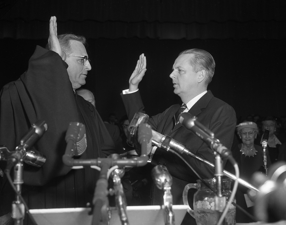 Gov. William Stratton is sworn in for his second term, Jan. 14, 1957 at the Illinois State Armory. File/The State Journal-Register