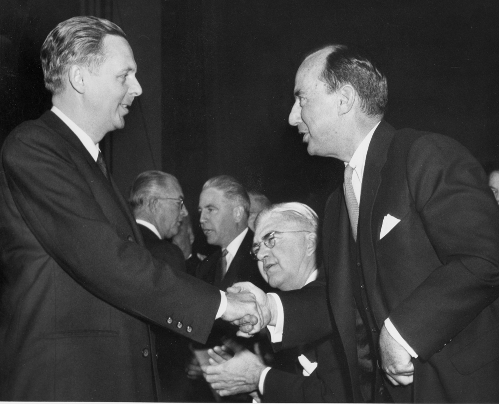 Gov.-elect William Stratton is greeted by out-going Gov. Adlai Stevenson Jan. 12, 1953 at the Illinois State Armory. File/The State Journal-Register