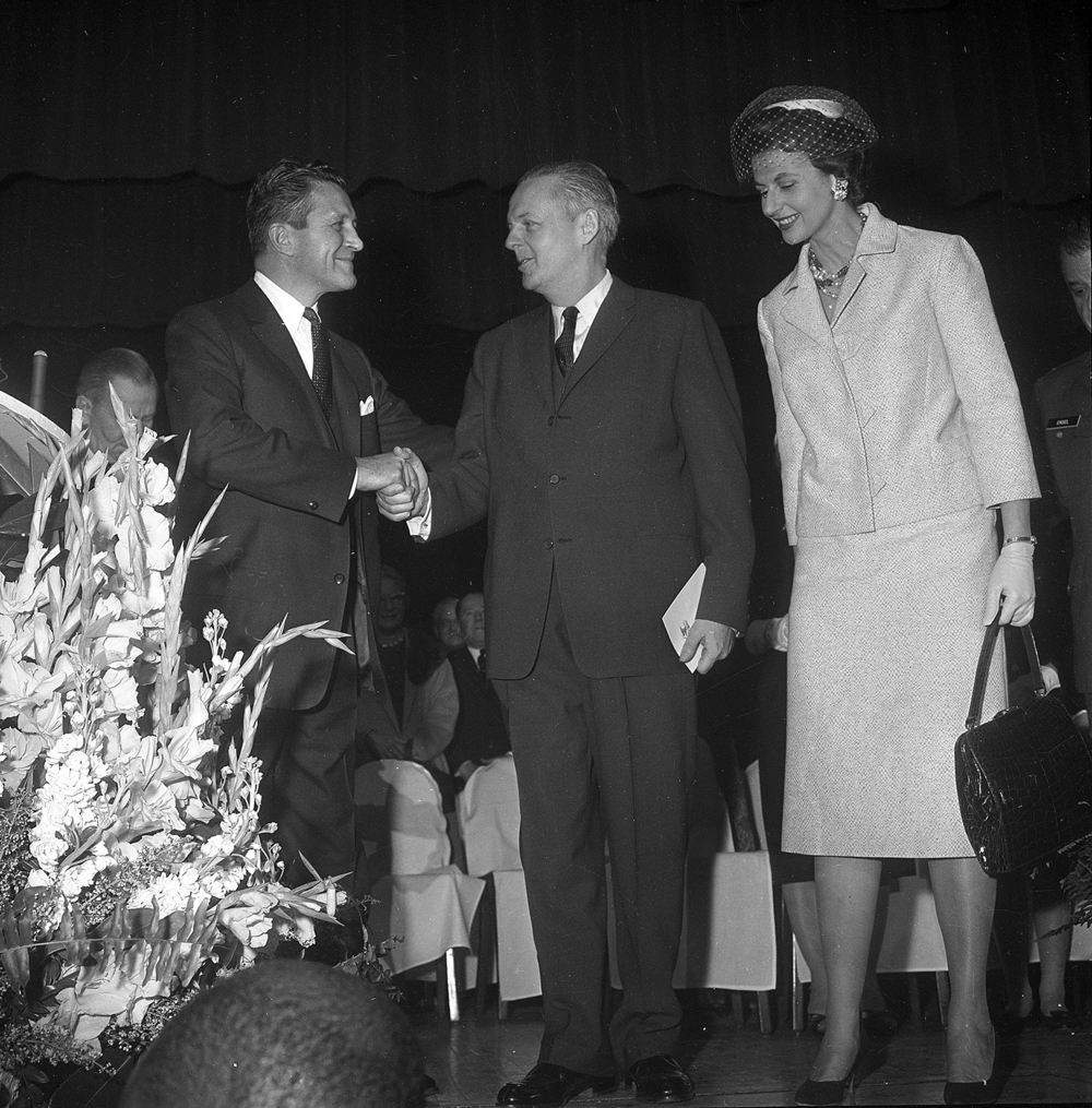 Inauguration of Gov. Otto Kerner, left, with out-going Gov. William Stratton and wife Shirley, Jan. 9, 1969 at the Illinois State Armory. File/The State Journal-Register