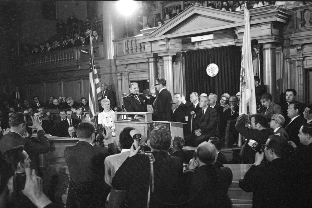 Gov. Otto Kerner resigned as governor on May 20, 1968 after being appointed judge on the United States Court of Appeals for the Seventh Circuit. The following day, Kerner administered the oath of office to his former Lt. Governor, Sam Shapiro, in the House chamber. File/The State Journal-Register