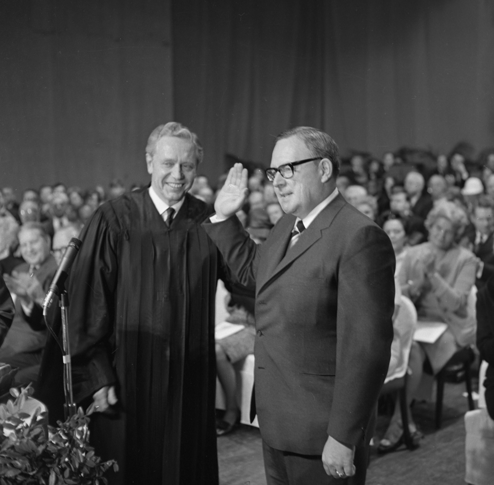Chief Justice Roy Solfisburg, Jr. delivered the oath of office to Gov. Richard Ogilvie January 13, 1967 at the Illinois State Armory. File/The State Journal-Register