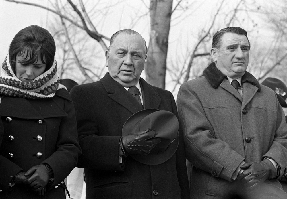 Chicago Mayor Richard J. Daley, center, was among the guests at the inauguration of Gov. Dan Walker, Jan 8, 1973. File/The State Journal-Register