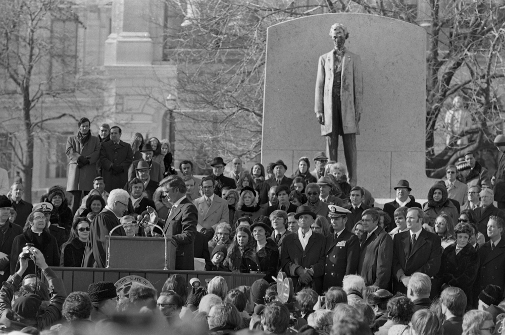 Inauguration of Gov. Dan Walker, Jan 8, 1973 on the steps of the State Capitol. File/The State Journal-Register