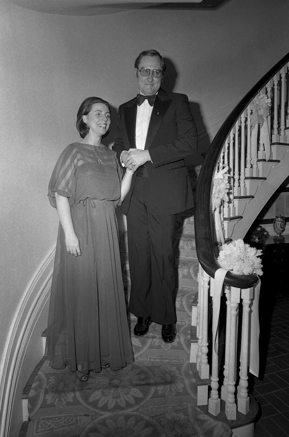 Gov. James R. Thompson and wife Jayne at Executive Mansion on day of inauguration to second term, Jan. 8, 1979. File/The State Journal-Register