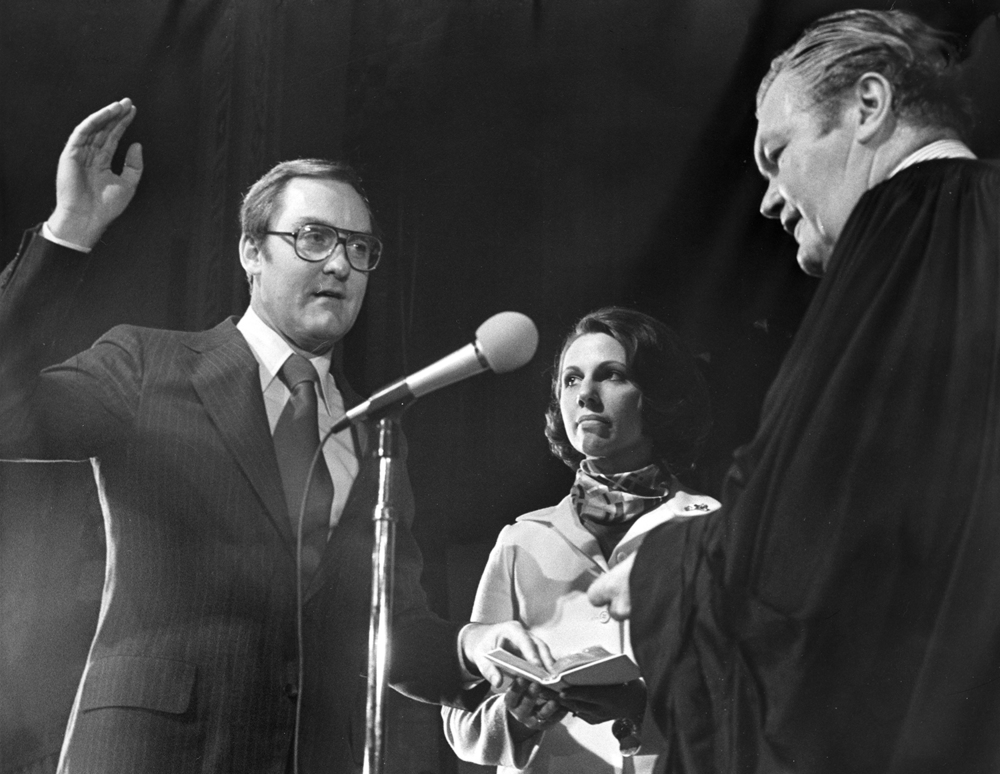 Gov. James R. Thompson is sworn into office for the first of four terms Jan. 10, 1977. File/The State Journal-Register