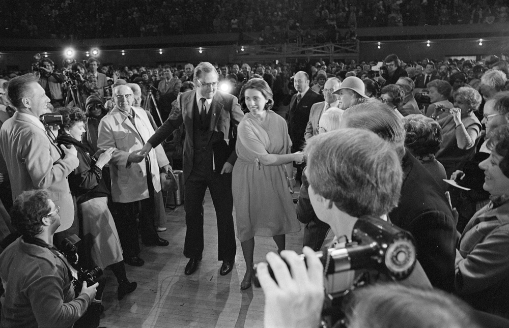 Gov. James Thompson and his wife Jayne enter the Illinois State Armory for his second inauguration Jan. 8, 1979. File/The State Journal-Register