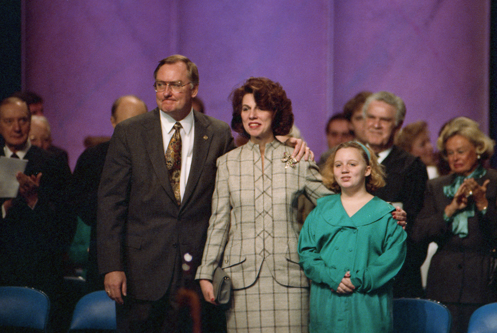 Former Gov. Jim Thompson, his wife Jayne and their daughter Samantha are recognized during the inauguration of Gov. Jim Edgar at the Prairie Capital Convention Center, Jan. 14, 1991. File/The State Journal-Register