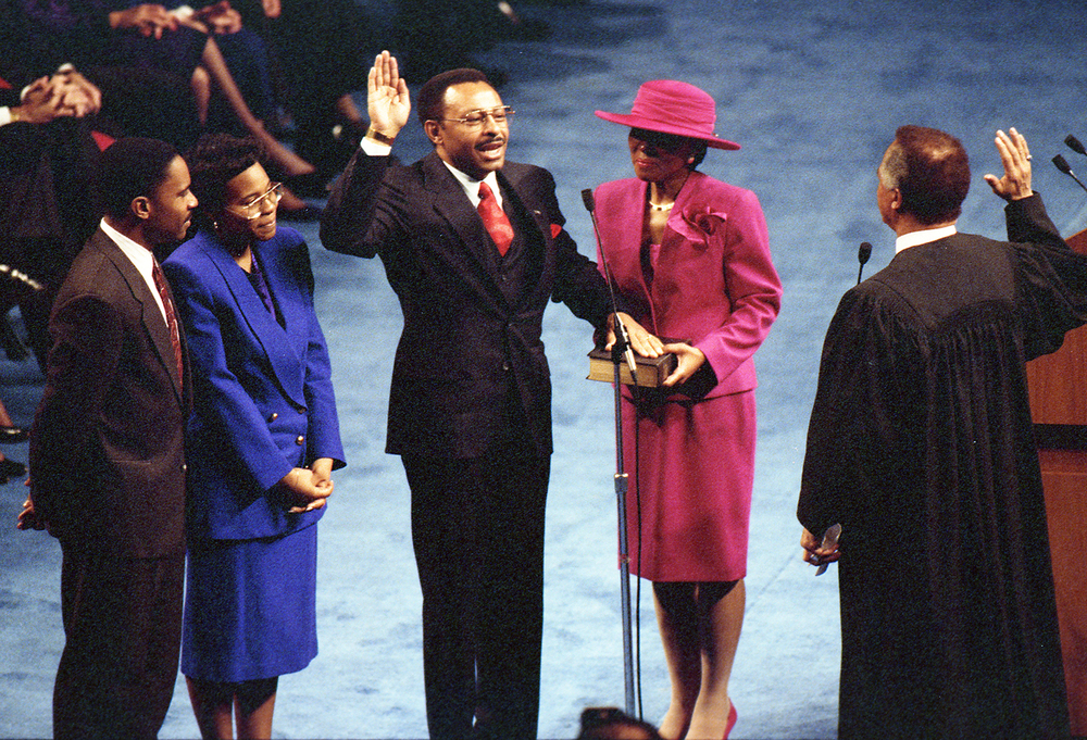 Gov. Jim Edgar inauguration at the Prairie Capital Convention Center, Jan. 14, 1991. Roland Burris is sworn in as attorney general. File/The State Journal-Register