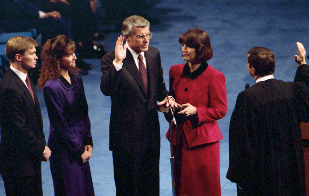Gov. Jim Edgar is sworn into his first term as governor at the Prairie Capital Convention Center, Jan. 14, 1991.File/The State Journal-Register