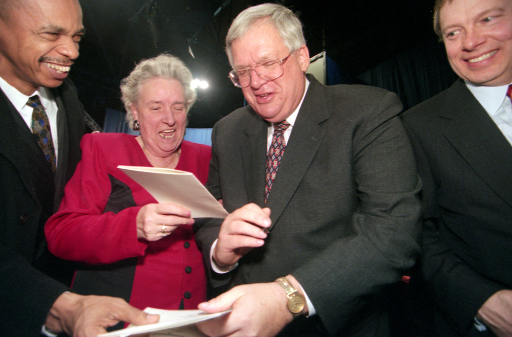 Rep. Dennis Hastert, Speaker of the House of Representative and a former state representative, is hounded for autographs following the inauguration of Gov. George Ryan Jan. 11, 1999 at the Prairie Capital Convention Center. File/The State Journal-Register