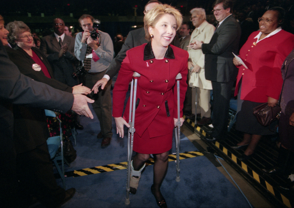 Lt. Gov.-elect Corrine Wood enters the Prairie Capital Convention Center on crutches Jan. 11, 1999. File/The State Journal-Register