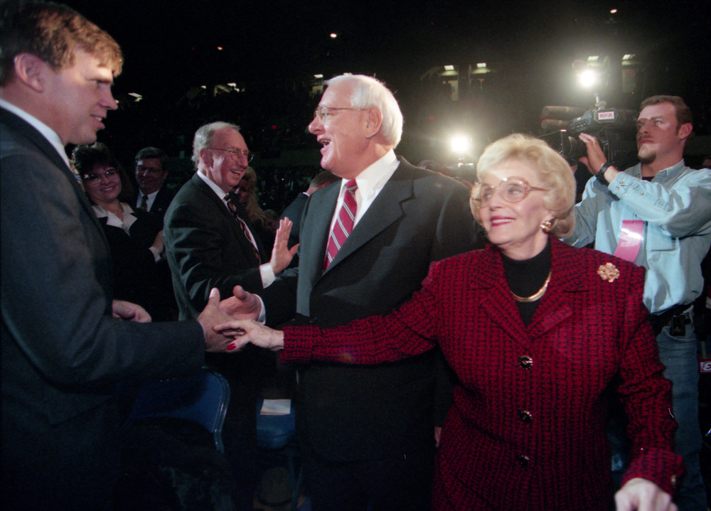 Gov.-elect George Ryan and his wife Lura Lynn enter the Prairie Capital Convention Center Jan. 11, 1999. File/The State Journal-Register