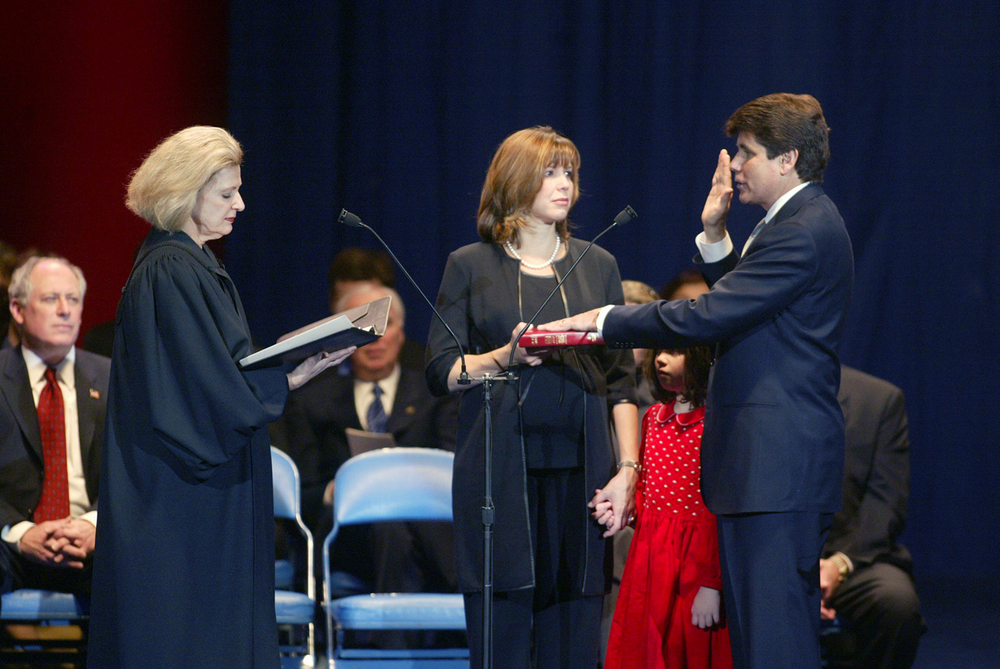 Rod Blagojevich is sworn into his first term as governor by Supreme Court Justice Anne Burke Jan. 13, 2003 at the Prairie Capital Convention Center. File/The State Journal-Register