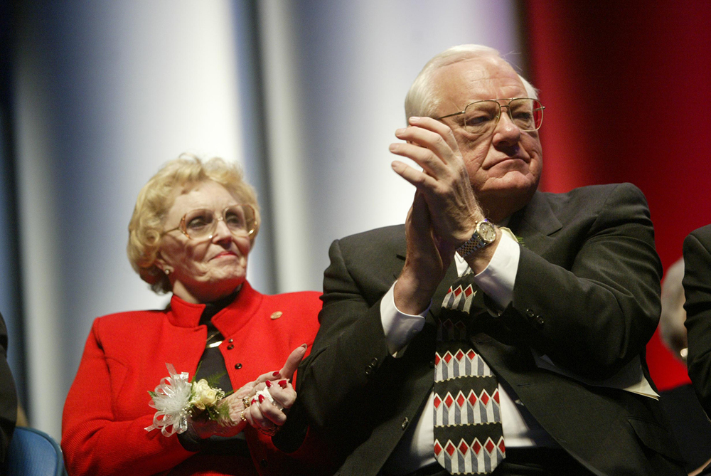 Out-going Gov. George Ryan and his wife, Lura Lynn, at the inauguration of Gov. Rod Blagojevich Jan. 13, 2003 at the Prairie Capital Convention Center. File/The State Journal-Register