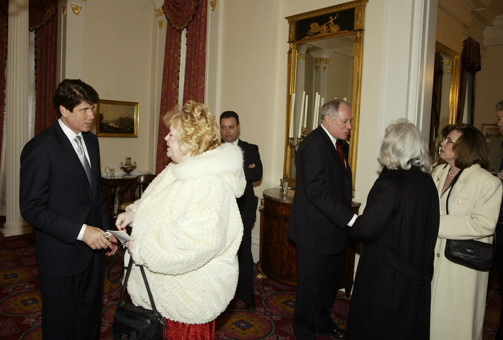 Gov. Rod Blagojevich and Lt. Gov. Pat Quinn greet visitors at the Executive Mansion Jan. 13, 2003. File/The State Journal-Register