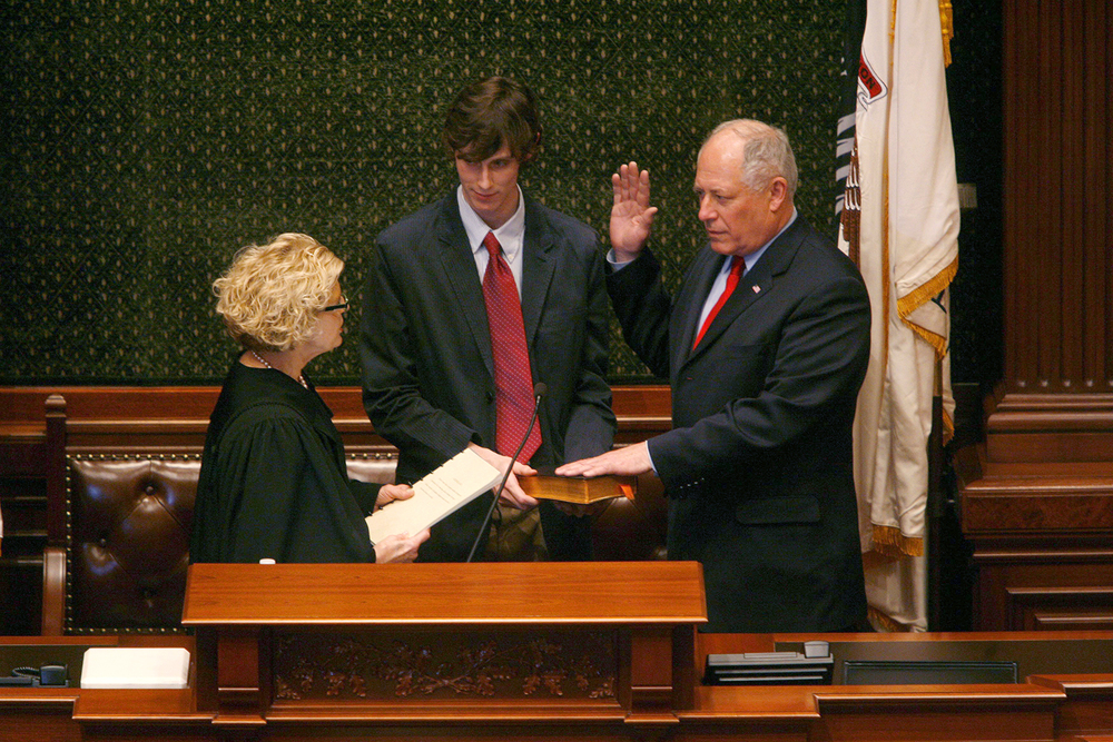 Pat Quinn is sworn in as governor hours after the impeachment of Gov. Rod Blagojevich, Jan. 29, 2009 in the Illinois House chamber. File/The State Journal-Register