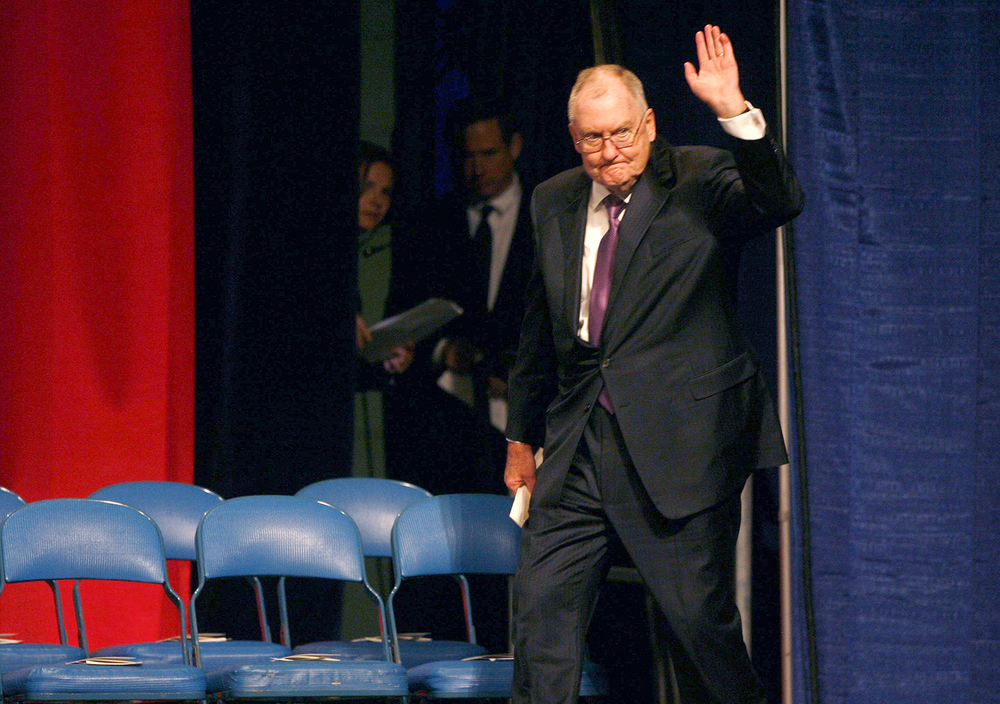 Former Gov. Jim Thompson walks onto the stage before the inauguration of Gov. Pat Quinn Jan. 10, 2011 at the Prairie Capital Convention Center. File/The State Journal-Register