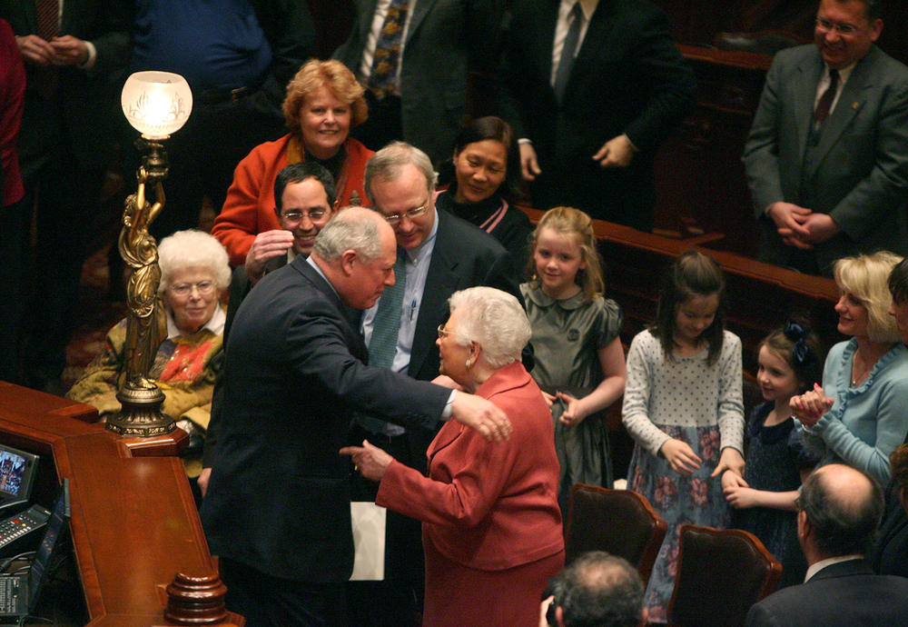 Gov. Pat Quinn greets his family after being sworn in as governor following the impeachment of Rod Blagojevich, Jan. 29, 2009 in the Illinois House chamber. File/The State Journal-Register