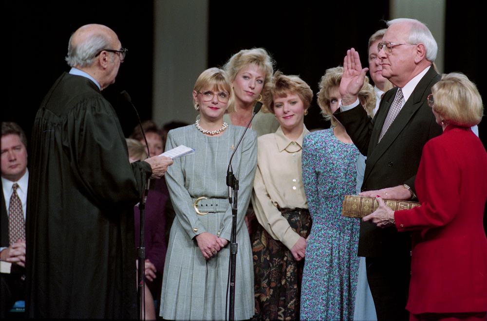 Secretary of State George Ryan is sworn in Jan 9, 1995 at the Prairie Capital Convention Center. File/The State Journal-Register politics; governor