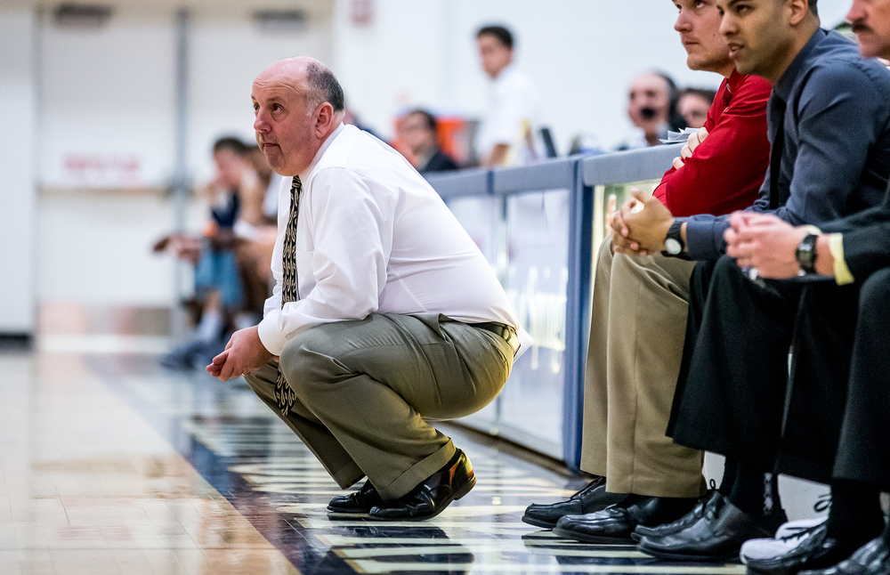 Quincy head basketball coach Alex Tuley watches as his team takes on the University of Illinois Springfield in the second half at the UIS Athletic & Recreation Center, Thursday, Jan. 8, 2015, in Springfield, Ill. Justin L. Fowler/The State Journal-Register