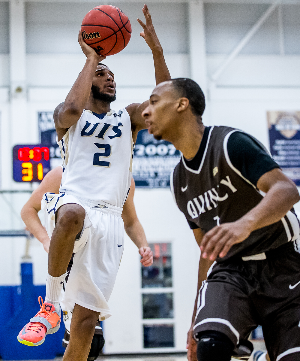University of Illinois Springfield's Davi Austin (2) goes up for a shot against Quincy University in the second half at the UIS Athletic & Recreation Center, Thursday, Jan. 8, 2015, in Springfield, Ill. Justin L. Fowler/The State Journal-Register