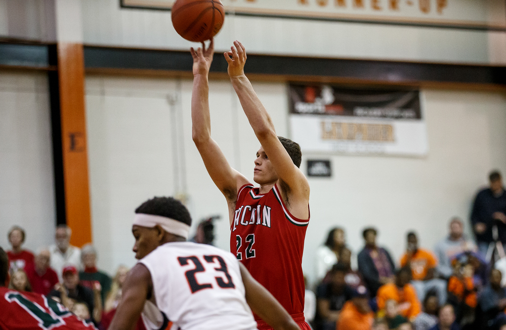 Lincoln's Gavin Block (22) shots a free throw to tie the game with Lanphier 35-35 in the second half at Lober-Nika Gymnasium, Friday, Jan. 9, 2015, in Springfield, Ill. Justin L. Fowler/The State Journal-Register
