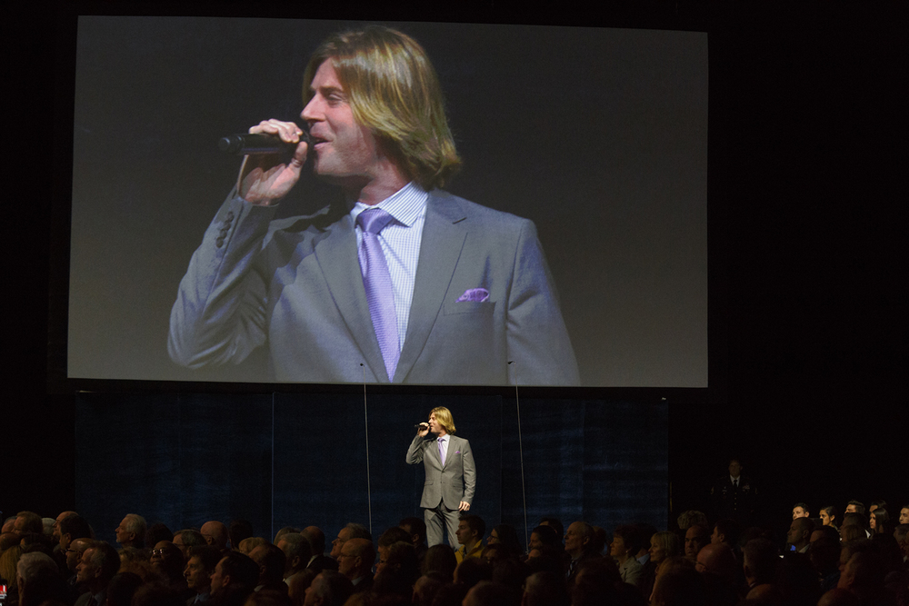 "Beau Davidson sings ""Blessed"" at the inauguration of Gov. Bruce Rauner Monday, Jan. 12, 2015 at the Prairie Capital Convention Center in Springfield, Ill. Rich Saal/The State Journal-Register"