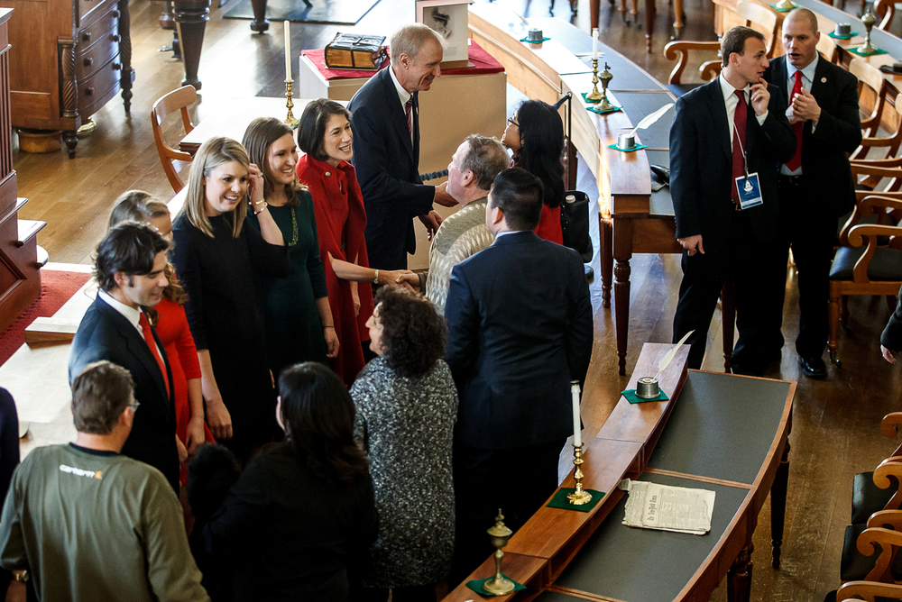 Illinois Gov. Bruce Rauner and his family greet visitors in Representatives Hall during an open house at the Old State Capitol, Monday, Jan. 12, 2015, in Springfield, Ill. Justin L. Fowler/The State Journal-Register