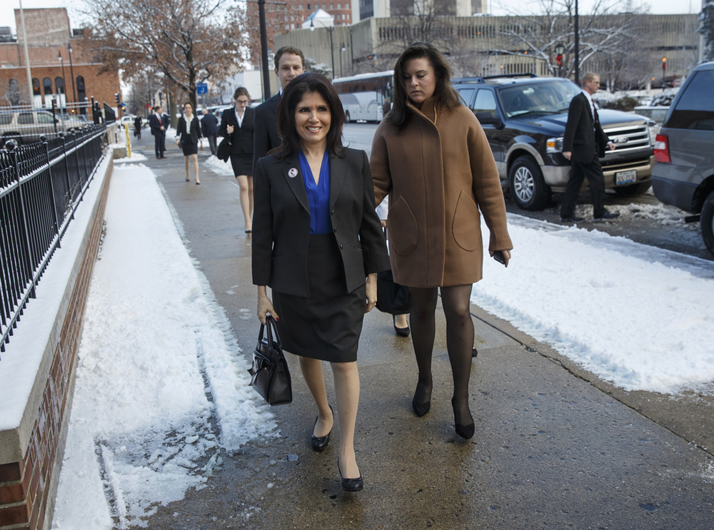 Lieutenant gov.-elect  Evelyn Sanguinetti arrives for the interfaith prayer service for constitutional officers at First Presbyterian Church Monday, Jan. 12, 2015.  Ted Schurter/The State Journal-Register