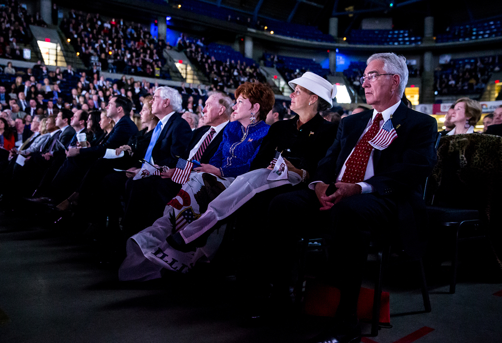Attendees watch an opening video showcasing the state during the Illinois Inaugural Ceremony at the Prairie Capital Convention Center, Monday, Jan. 12, 2015, in Springfield, Ill. Justin L. Fowler/The State Journal-Register