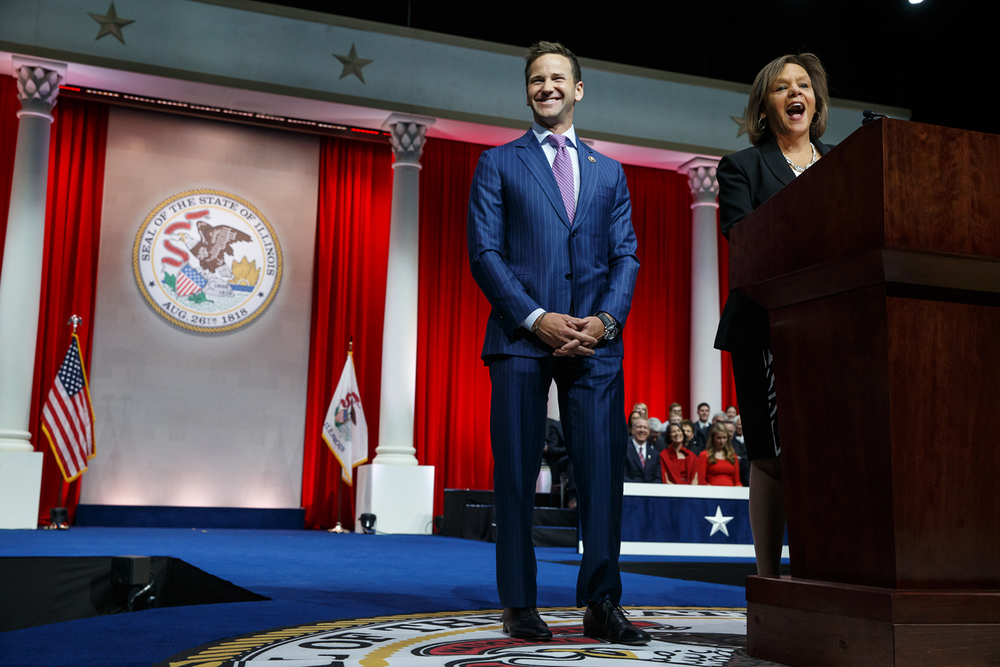 U.S. Congressman Aaron Schock & U.S. Congresswoman Robin Kelly give the Illinois Congressional Delegation Welcome during the Illinois Inaugural Ceremony at the Prairie Capital Convention Center, Monday, Jan. 12, 2015, in Springfield, Ill. Justin L. Fowler/The State Journal-Register