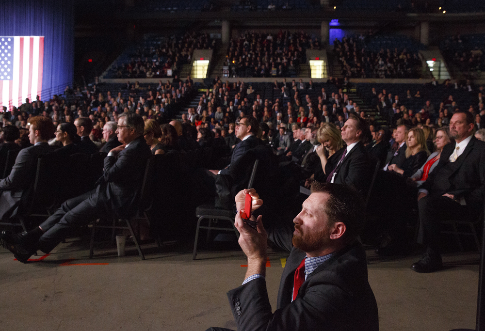 The audience listens to Gov. Bruce Rauner's inaugural address inauguration of Monday, Jan. 12, 2015 at the Prairie Capital Convention Center in Springfield, Ill. Rich Saal/The State Journal-Register