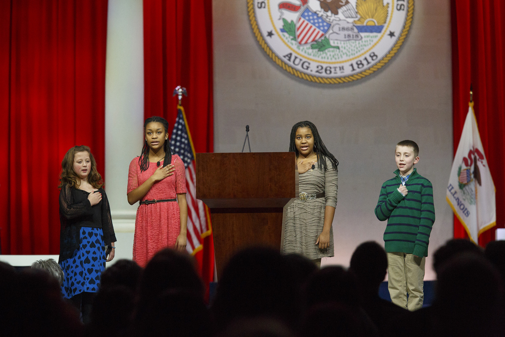 Children from Gold Star families lead the Pledge of Allegiance at the inauguration of Gov. Bruce Rauner Monday, Jan. 12, 2015 at the Prairie Capital Convention Center in Springfield, Ill. Rich Saal/The State Journal-Register