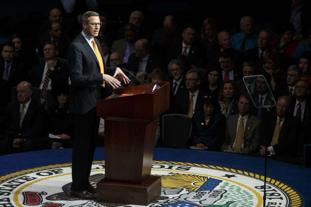 Illinois treasurer Mike Frerichs delivers his inaugural address Monday, Jan. 12, 2015. Ted Schurter/The State Journal-Register