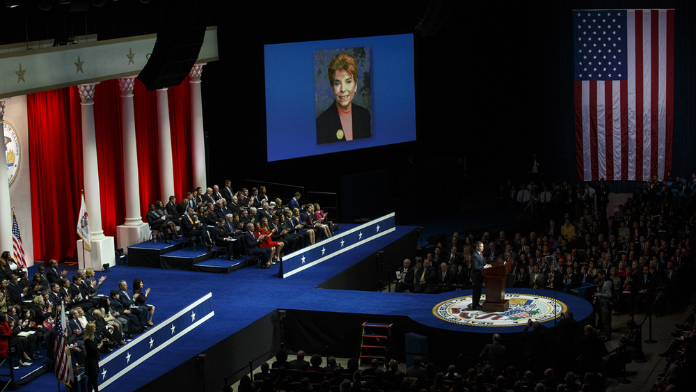 Congressman Rodney Davis, R-Taylorville, remembered  Illinois Comptroller Judy Baar Topinka during the inauguration ceremony Monday, Jan. 12, 2015. Topinka, the first woman in Illinois to serve in two state constitutional offices, died in December. Ted Schurter/The State Journal-Register